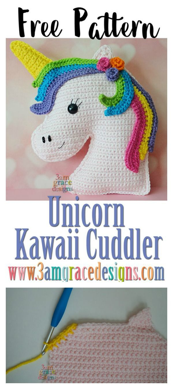 Unicorn Kawaii Cuddler Free Crochet Pattern | Pinterest | Unicornio ...