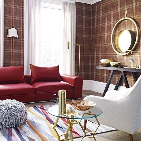 Decorating with classic pattern Tartan wallpaper Modern living