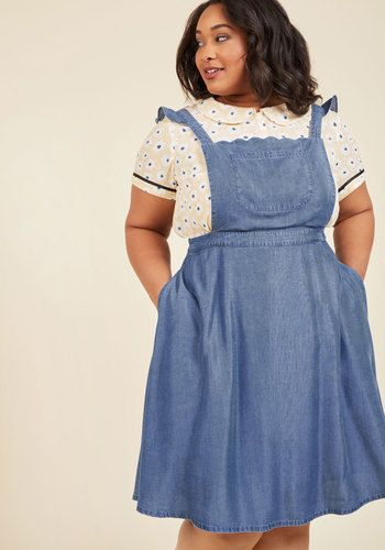 3185b97cda 1940s Plus Size Dresses Broadcast Coordinator Denim Jumper Dress