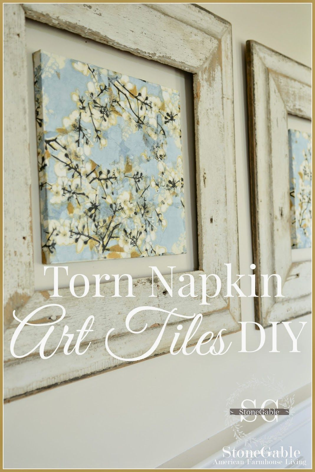 Torn Napkin Art Tiles Diy Share Your Craft Diy Canvas