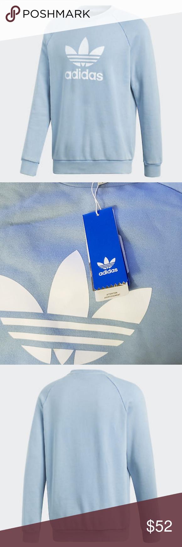 Adidas Trefoil Sweatshirt With Logo Nwt Sweatshirts Blue Adidas Adidas Trefoil [ 1740 x 580 Pixel ]