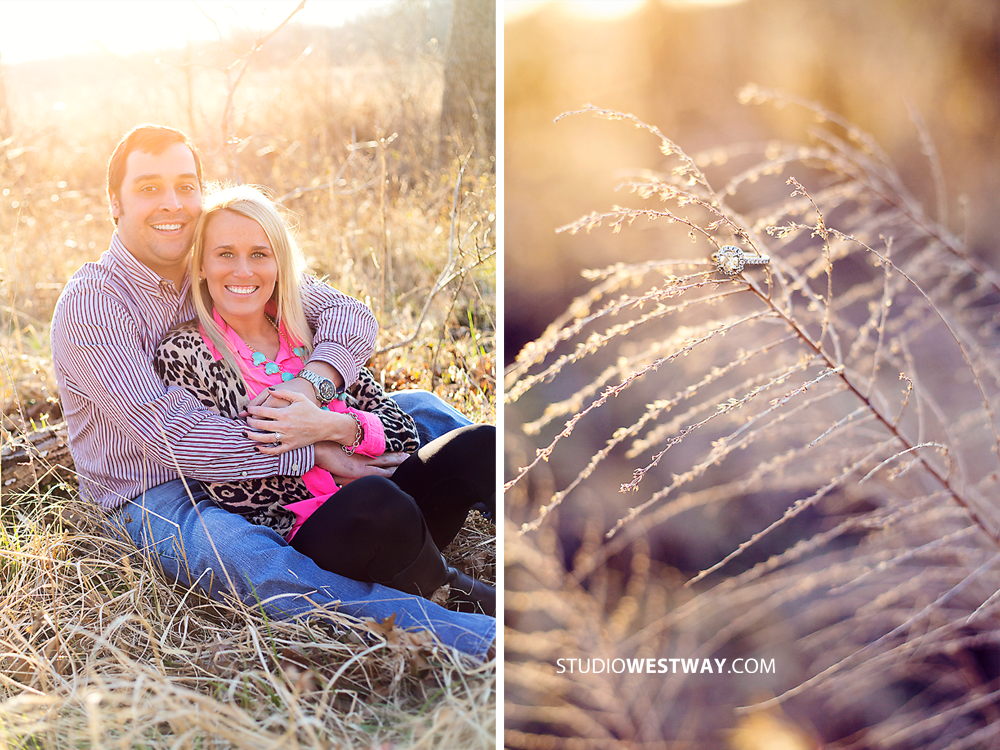 Jenna & Aaron on the blog. Tulsa, Oklahoma. Engagement photos. Open field. Sunset. Romance. Couple pose ideas. Oklahoma City wedding photography. www.studiowestway.com