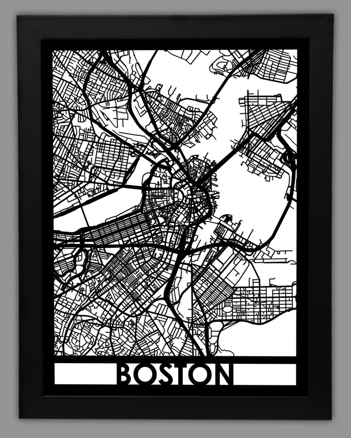 "Boston Wall Art boston laser cut map | 18x24"" framed city map 