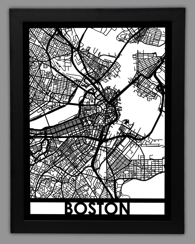 Boston Laser Cut Map 18x24 Framed City Map City Wall Art