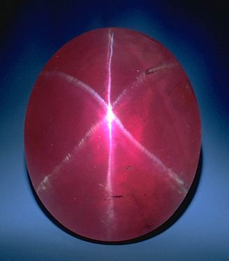 Red star sapphire, or star ruby
