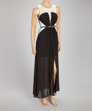 Love Point Black Lace Chiffon-Overlay Belted Maxi Dress - Women by Love Point #zulily #zulilyfinds