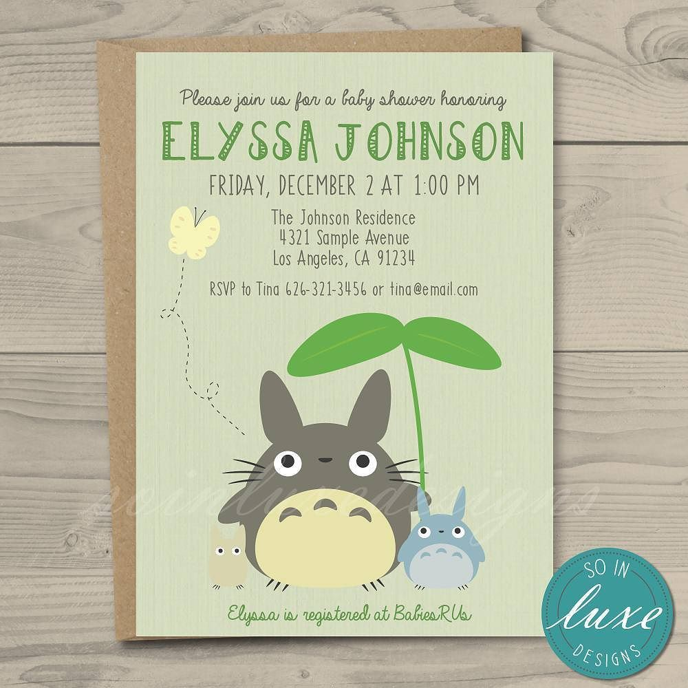 Just finished a totoro themed baby shower invitation You can find