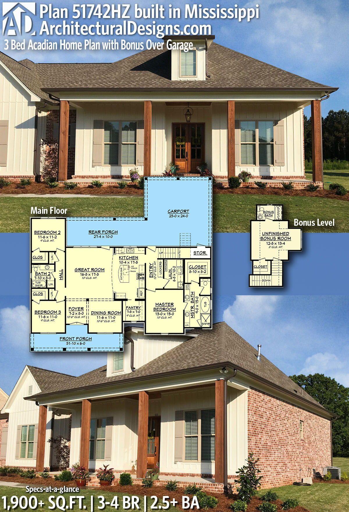 Plan 51742hz 3 Bed Acadian Home Plan With Bonus Over Carport Acadian House Plans Acadian Homes House Plans