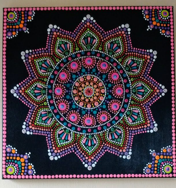 Carnival mandala | Medallions | Mandala canvas, Dot art