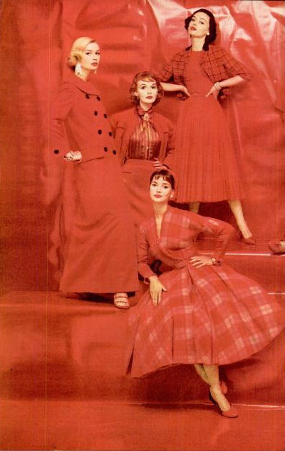 Fall Fashions in Red - 1955. 1950s fashion images.