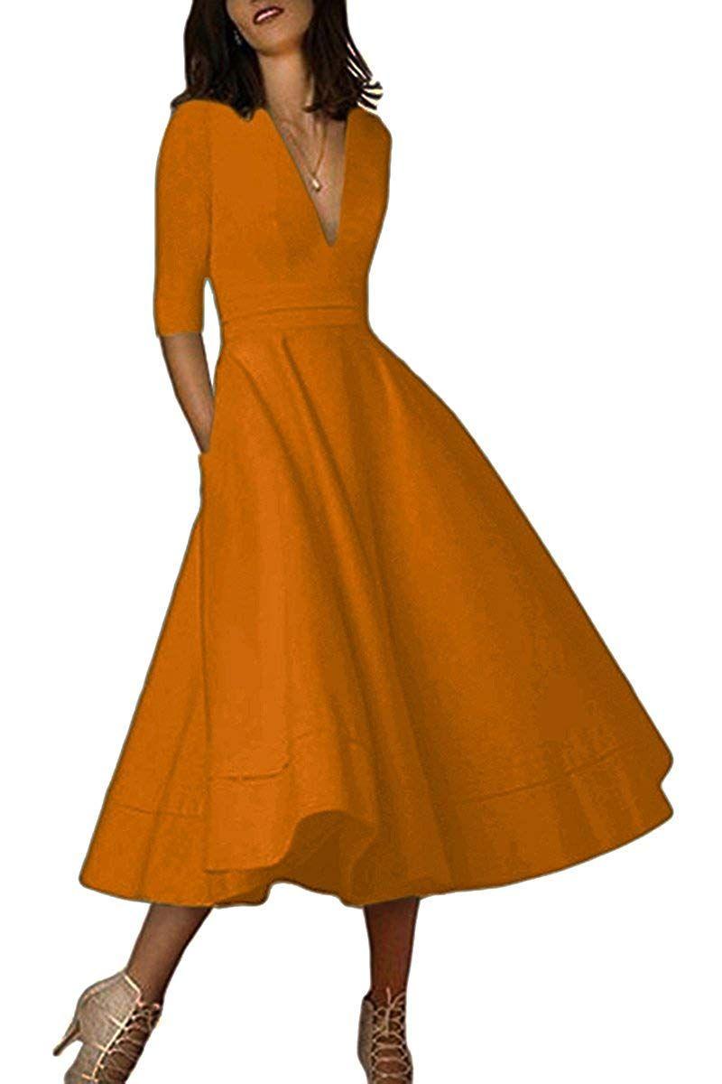 Yming Women S Elegant Cocktail Maxi Dress Deep V Neck 3 4 Sleeve Vintage Pleated Dress More I Maxi Dress Cocktail Half Sleeve Dresses V Neck Cocktail Dress [ 1200 x 800 Pixel ]