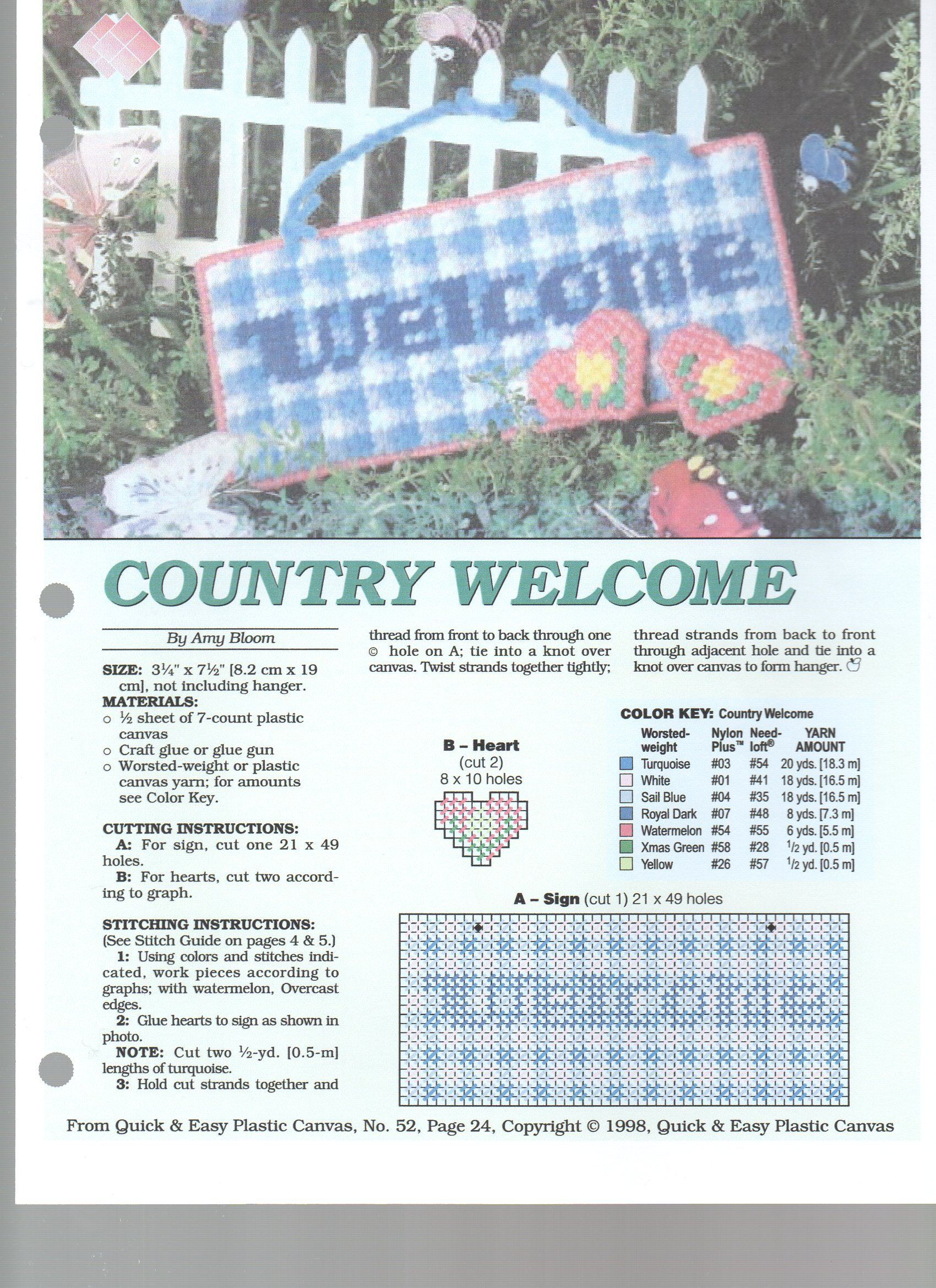 Country Welcome With Images Plastic Canvas Crafts Plastic Canvas Christmas Plastic Canvas Patterns