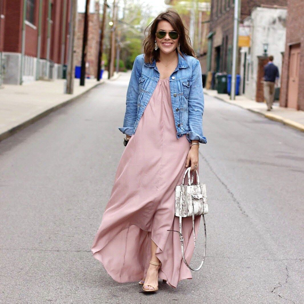Pink dress with jean jacket  Instagram Roundup  Jcrew Denim jackets and Maxi dresses