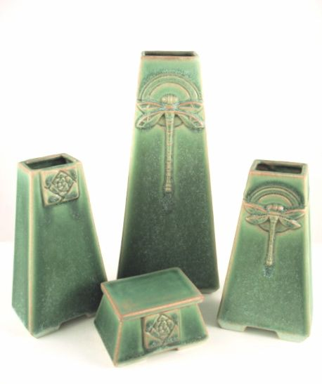 Trapezoid Vases in a variety of glazes from   Roycroft studio circa 1995