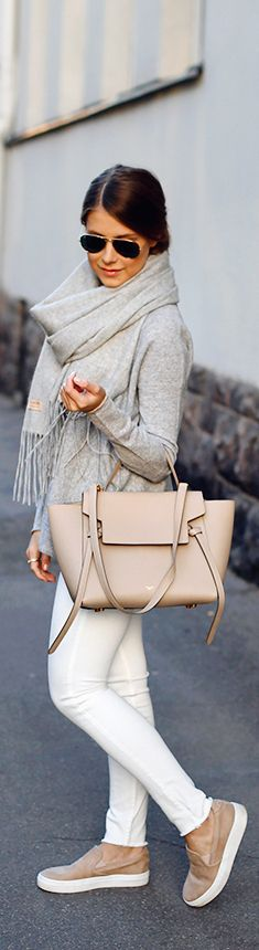 Grey scarf and sweater, white pants, pastel tote bag and flats