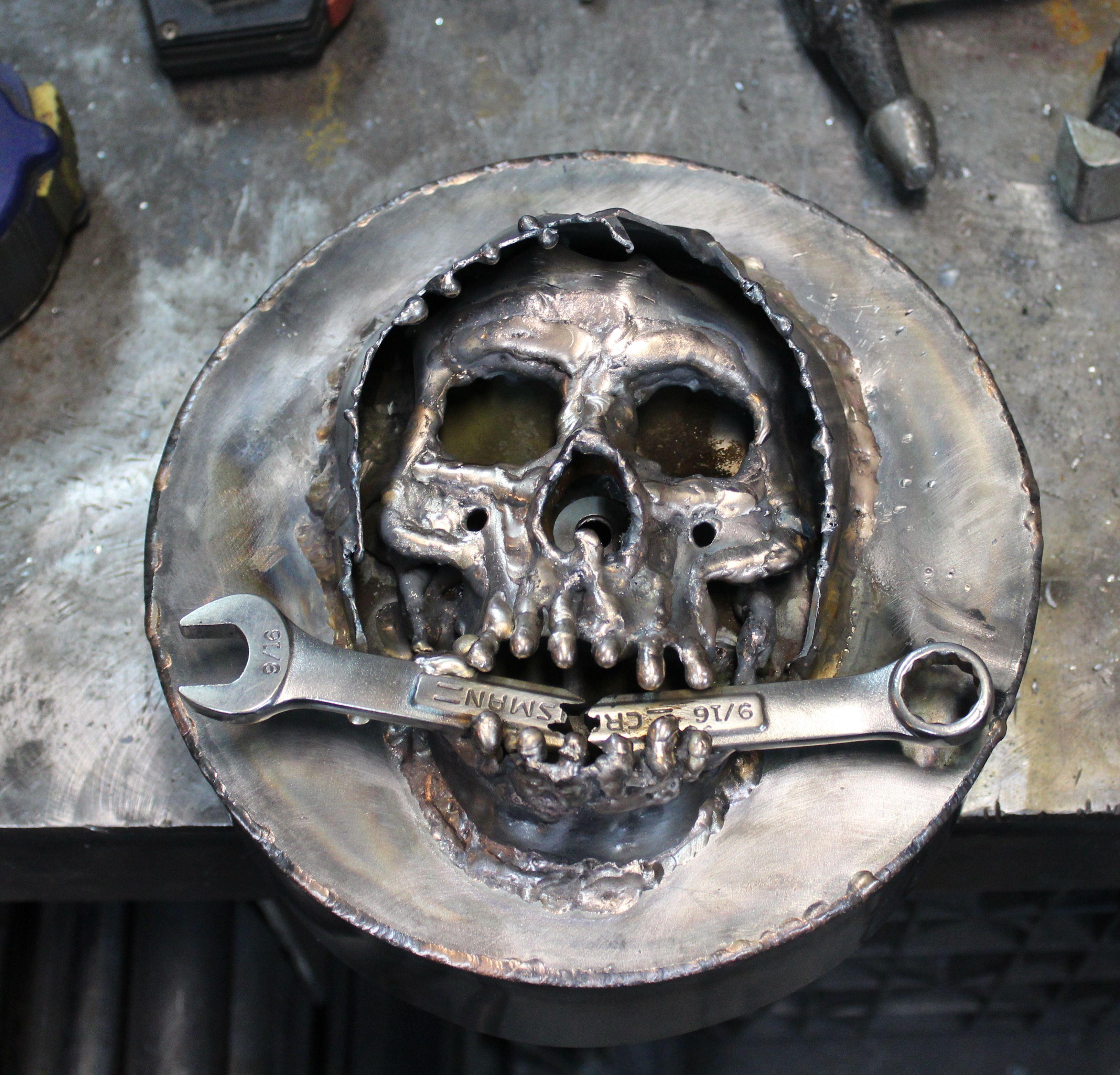 custom hand made tig welded metal skull Harley mikuni air