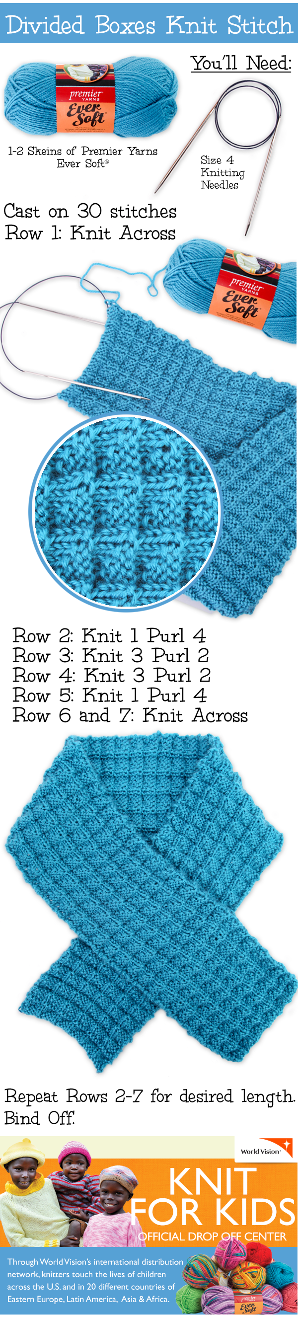 Divided Boxes Knit Stitch Scarf - Free Knitted Pattern | Knitting ...