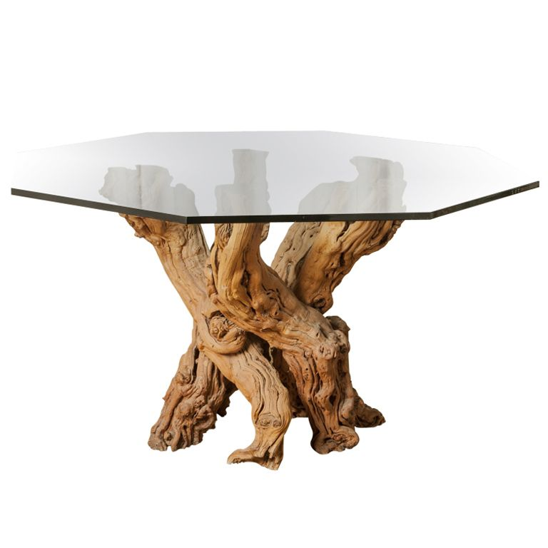 1950u0027s Cypress Root Dining Table With Smoked Glass Hexagon Top