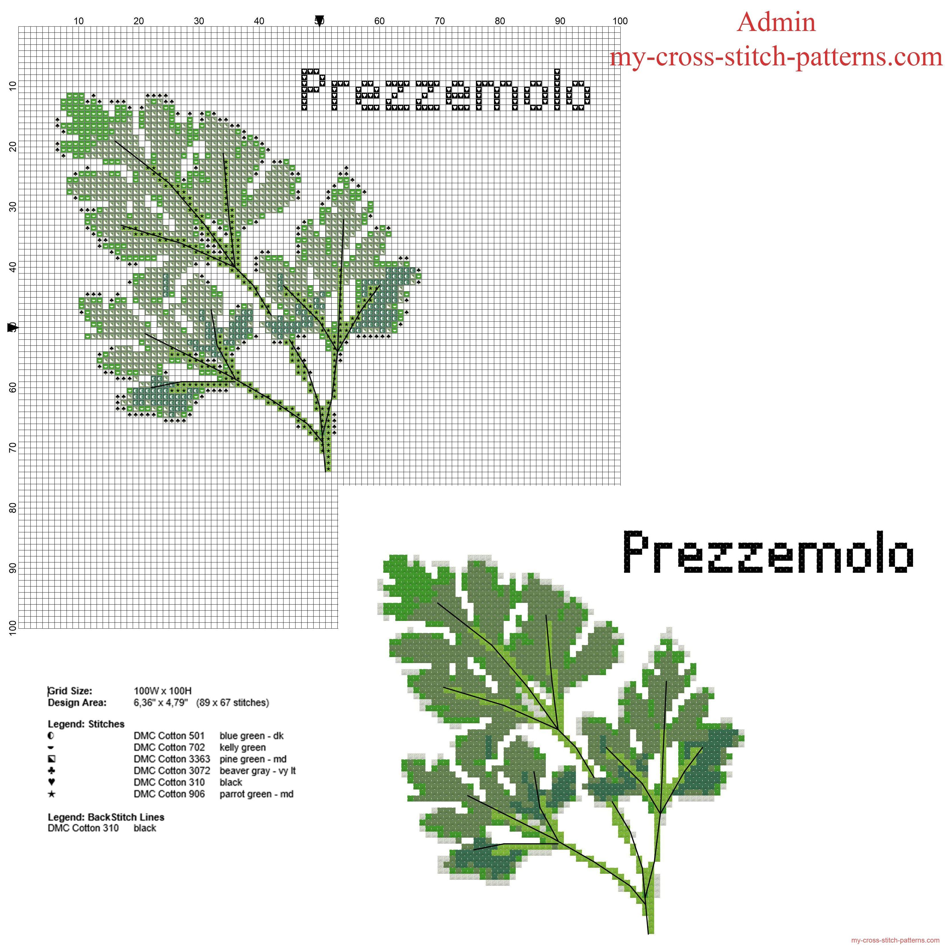 Parsley herb free cross stitch pattern | Cross stitch and Stitchery ...