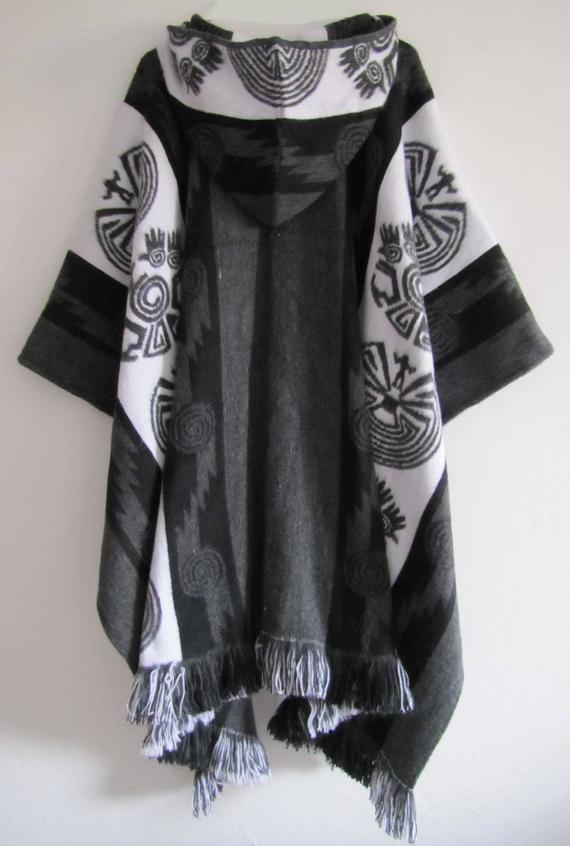 Poncho with Hood Wool Gray Black Coat Mens Cape Indigenous