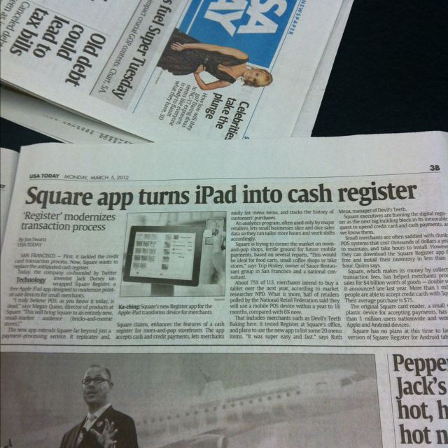 Might make me get an iPad From USA Today. Square app