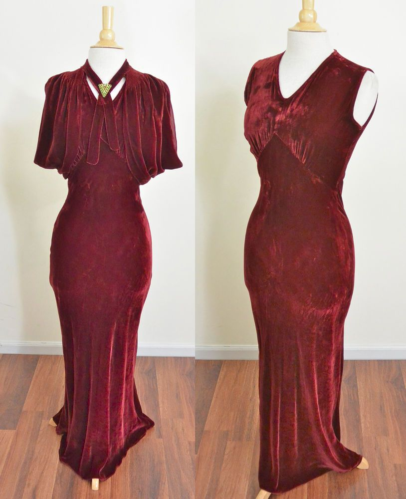 Vtg s red silk velvet bias evening gown ballgown party maxi dress