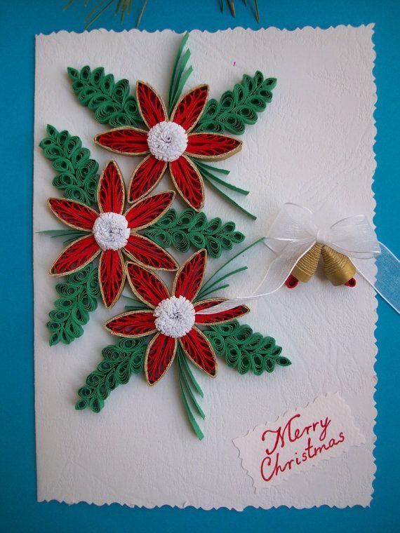 Holiday Card Handmade Christmas Card Merry Christmas Card Etsy Quilling Christmas Holiday Cards Handmade Christmas Cards Handmade