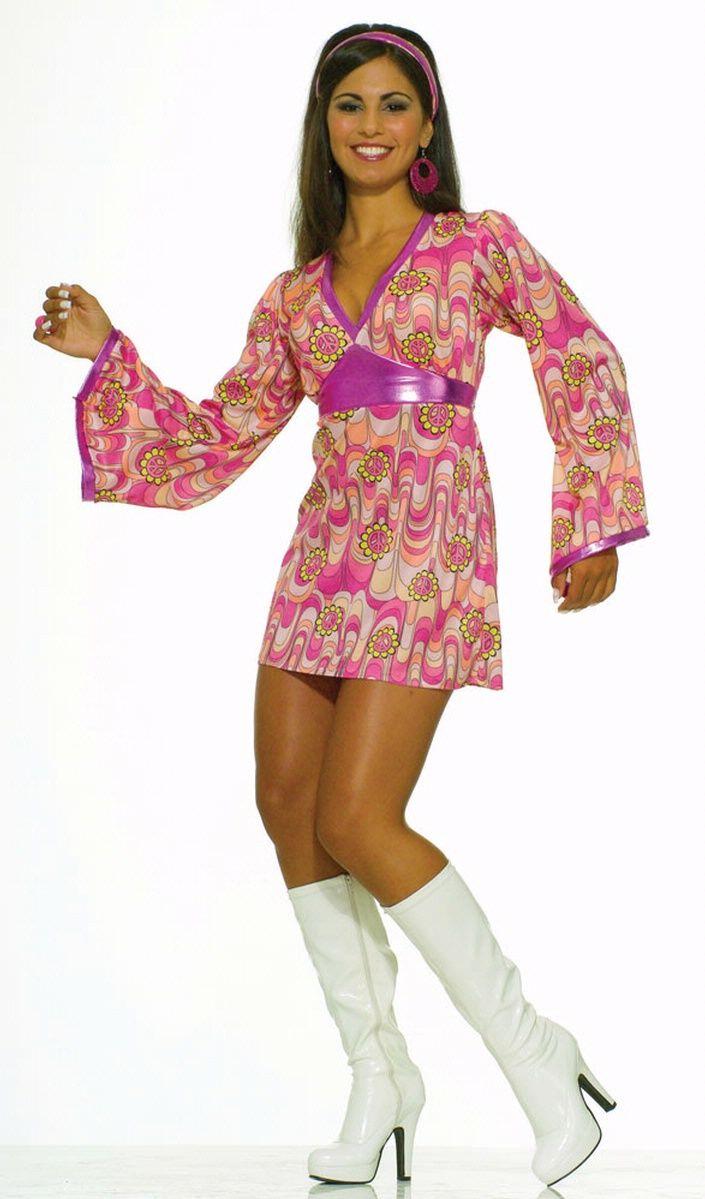 8ac2e485e617c 60's outfits women | Flower Power Dress Costume - Women's 60's Go Go Costume