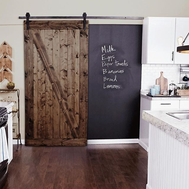 Open New Possibilities In Your Kitchen With A Rustic Sliding Barn Door And A Chalkboard Wall Click The L Kitchen Barn Doors Glass Barn Doors Barn Door Pantry