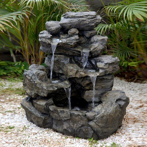 Better homes and gardens river rock fountain patio for Stone garden waterfall