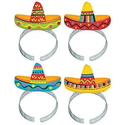 """Amscan Cinco De Mayo Fiesta Party Colorful Sombrero Headbands (8 Piece), Multi Color, 11 x 8"""""""