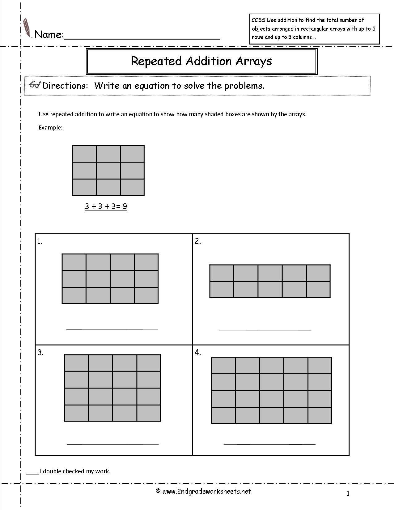 Array Math Worksheets Ccss 2 Oa 4 Worksheets In 2020 Array Worksheets Repeated Addition Worksheets Addition Worksheets