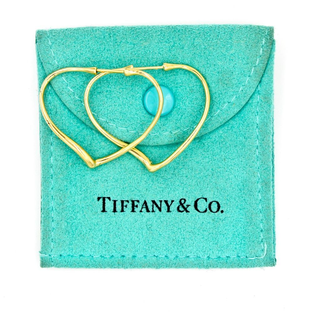 Elsa Peretti Open Heart earrings of turquoise and 18k gold Tiffany & Co. SivBKce