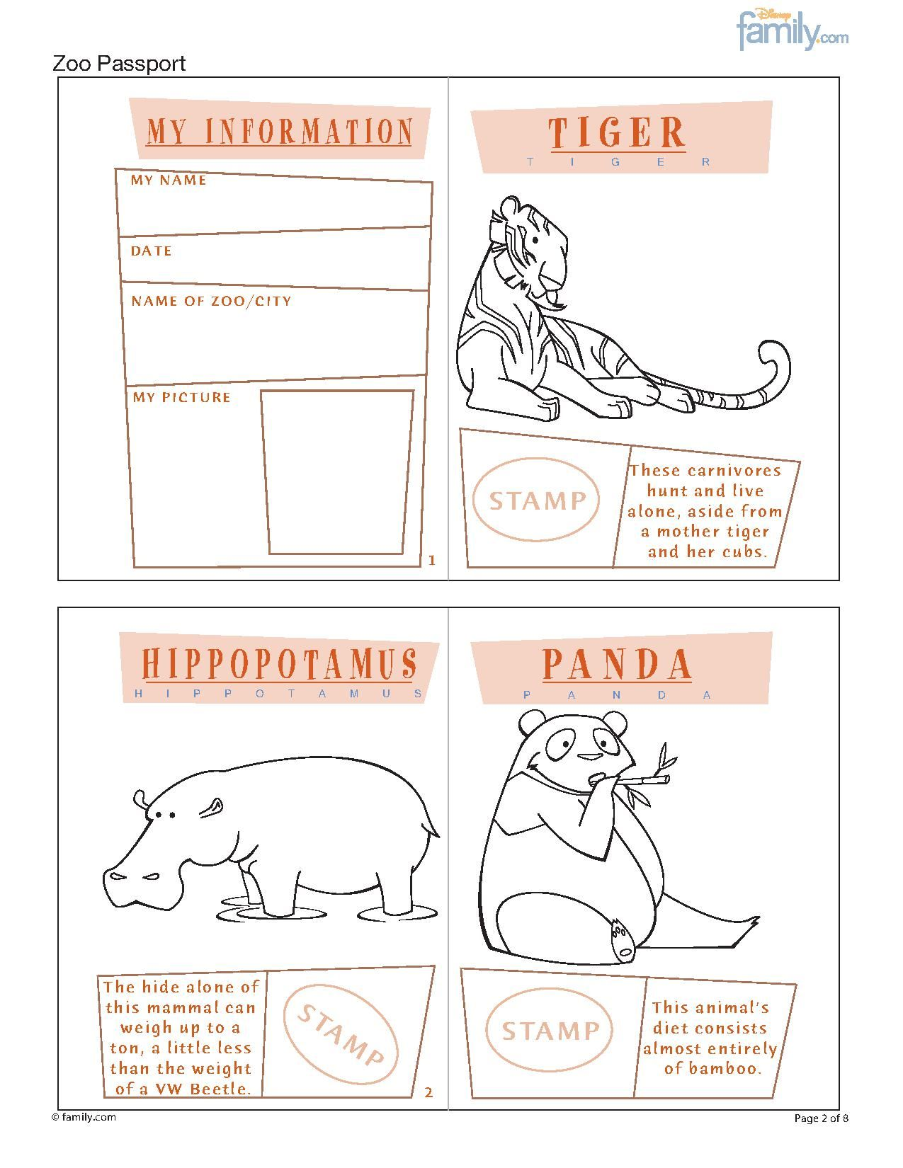 Zoo printable passport for kids page 1 i wanna go zoo printable passport for kids pronofoot35fo Image collections