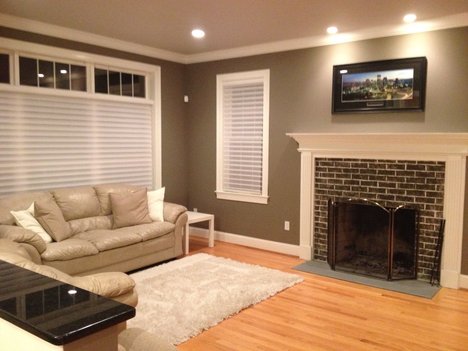 Benjamin Moore Iron Gate Walls Dragons Breath Fireplace London Fog Ceiling