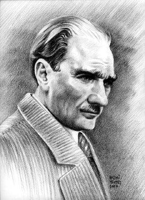 Karakalem Ataturk Portresi Portre Kara Kalem Portre Fuzen Cizimleri