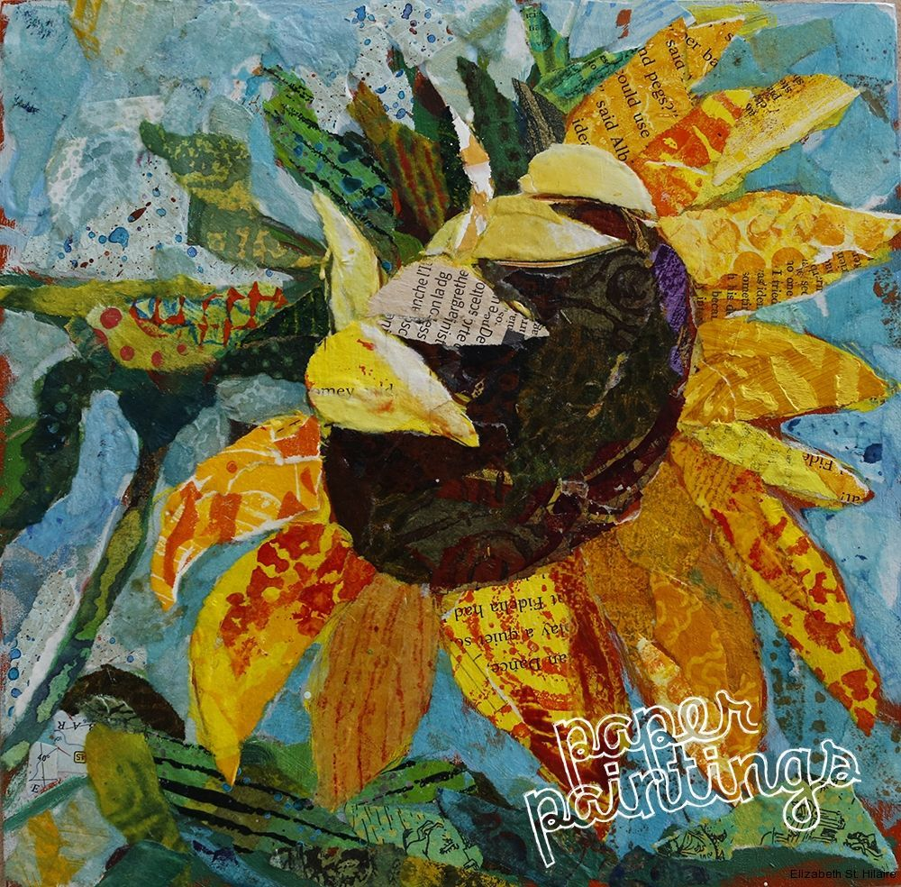 Image result for sunflower collage paper collage art