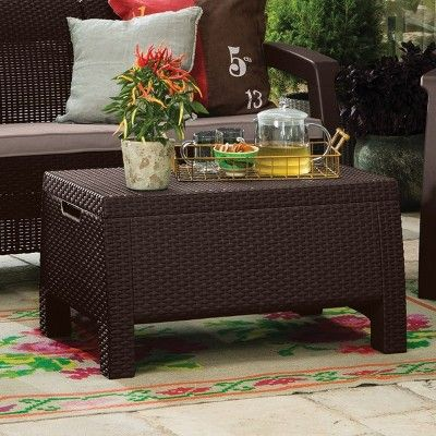 Bahamas Outdoor Resin Patio Storage Coffee Table Brown Keter In