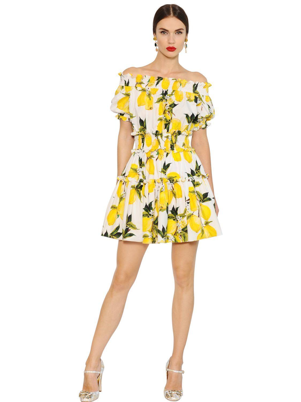 3a5587dc2c7c Women's Yellow Lemon Printed Cotton Poplin Dress | My Style | Corte ...