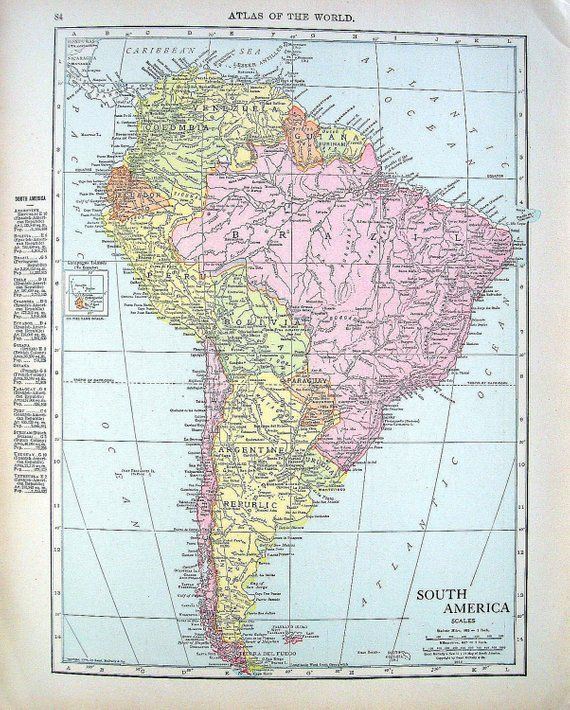 1914 Antique Map - Map of Cuba, Map of South America - World