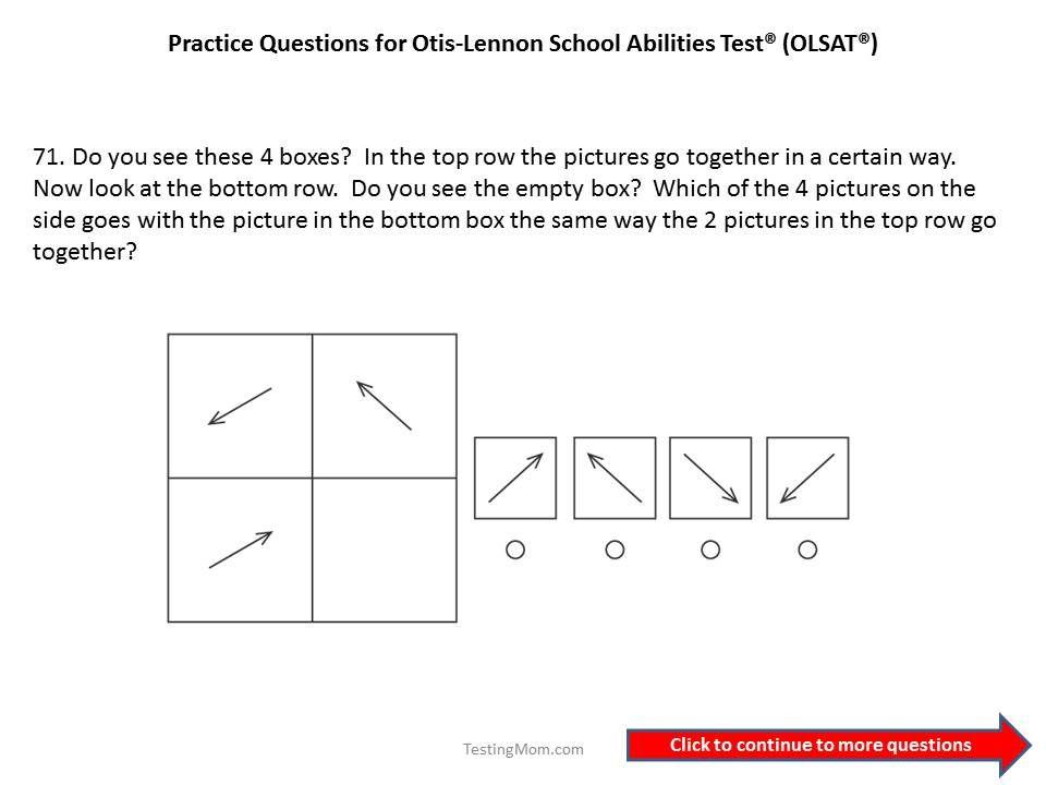 Practice OLSAT questions for 1st grade to 2nd grade...Otis-Lennon ...