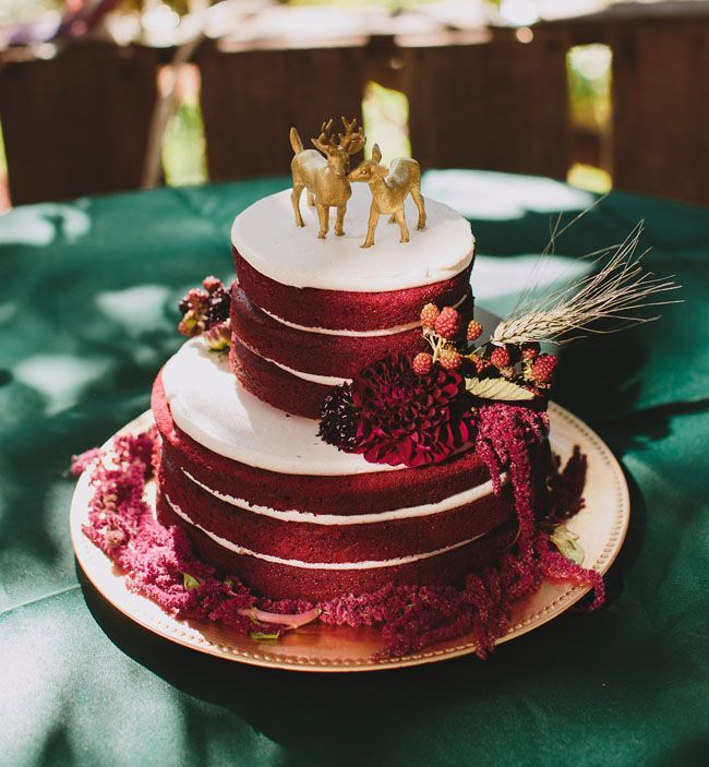 Red Velvet Wedding Cake With Gold Deer Topper
