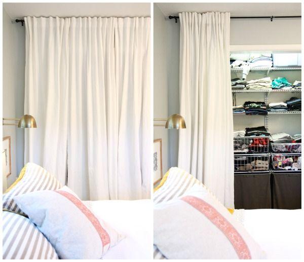 Floor To Ceiling Curtains Instead Of Closet Doors Bedroom