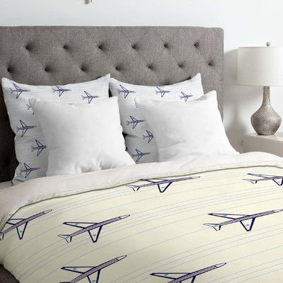 East Urban Home Vy La Airplanes and Stripes Duvet Cover Size: Twin/Twin XL