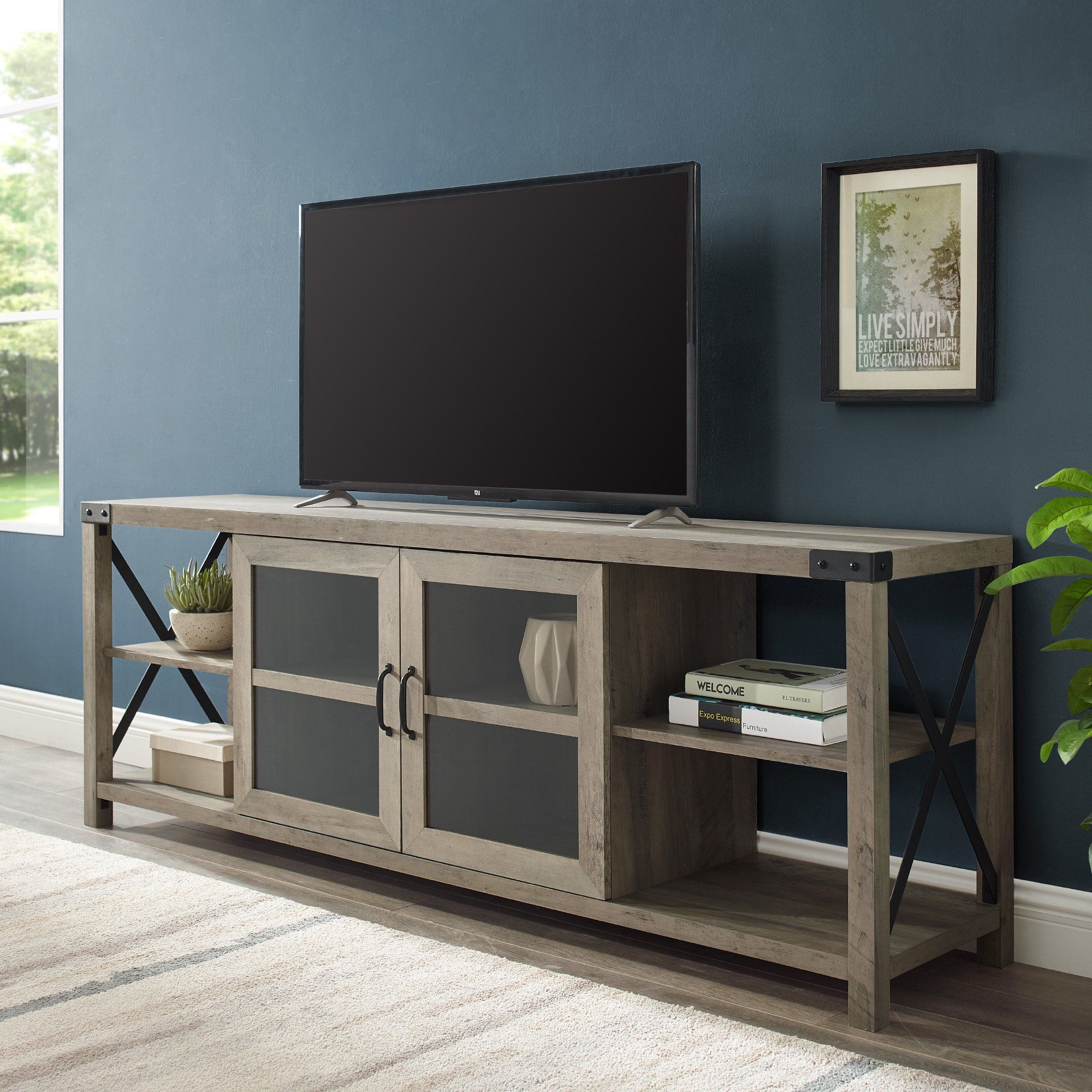 Woven Paths Farmhouse 2 Door Metal X Tv Stand For Tvs Up To 80 Grey Wash Walmart Com Living Room Tv Stand Farmhouse Tv Stand Tv Stand For 75 Inch Tv