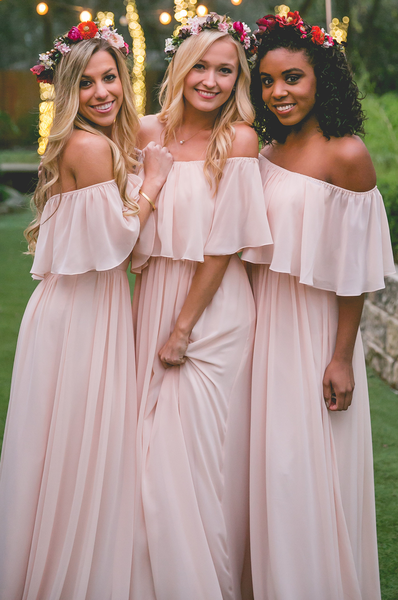 b8bb4c6f128 Off the shoulder perfect layered bridesmaids gown. Perfect for a summer  wedding and it comes in more than a dozen colors!