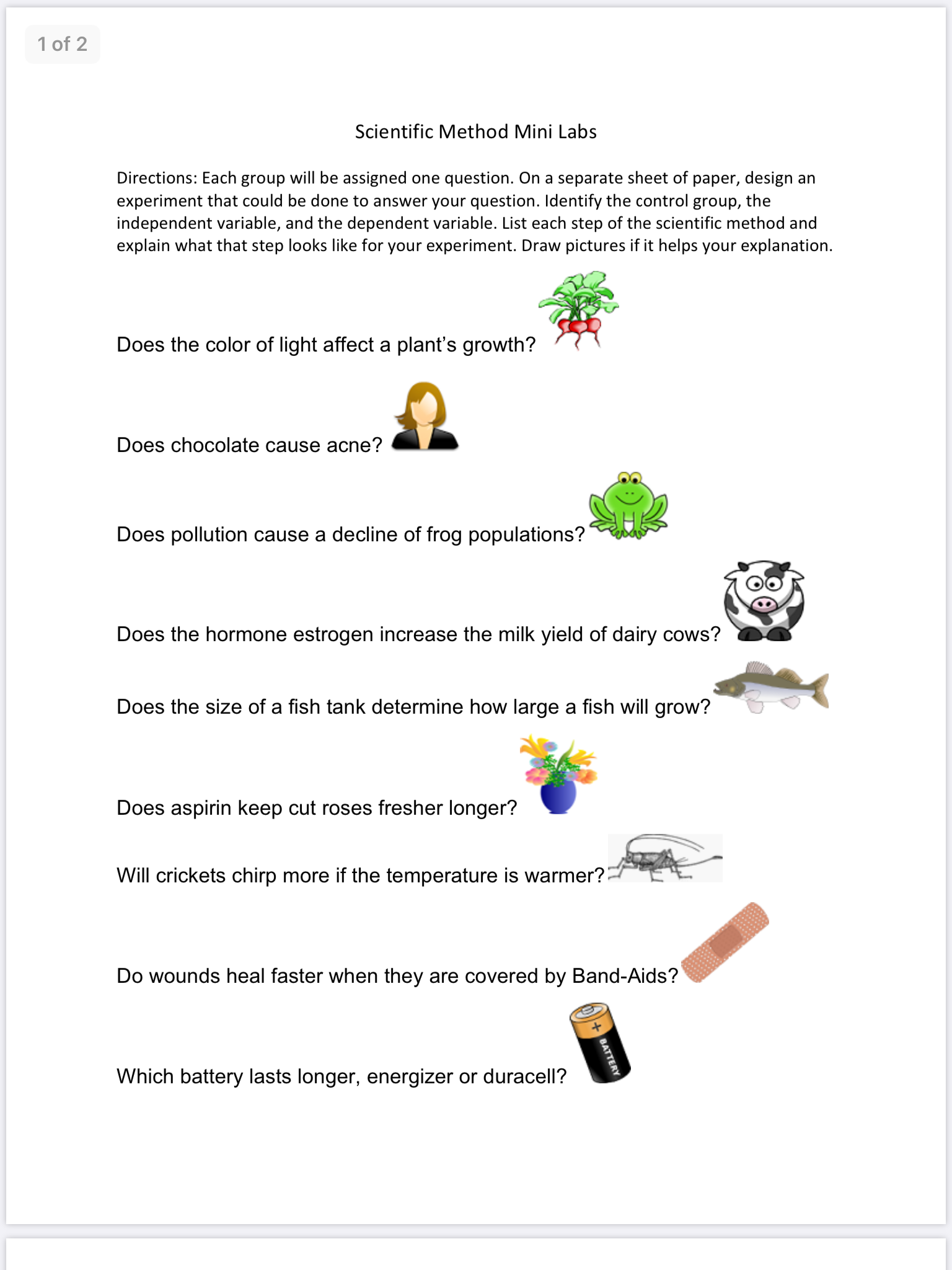 Schoology Scientific Method Mini Labs Page 1 Scientific Method Schoology This Or That Questions