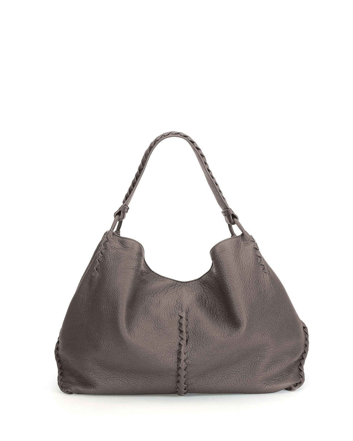 58ea8c8efc discount Bottega Veneta Cervo Large Shoulder Bag Light Gray sale online