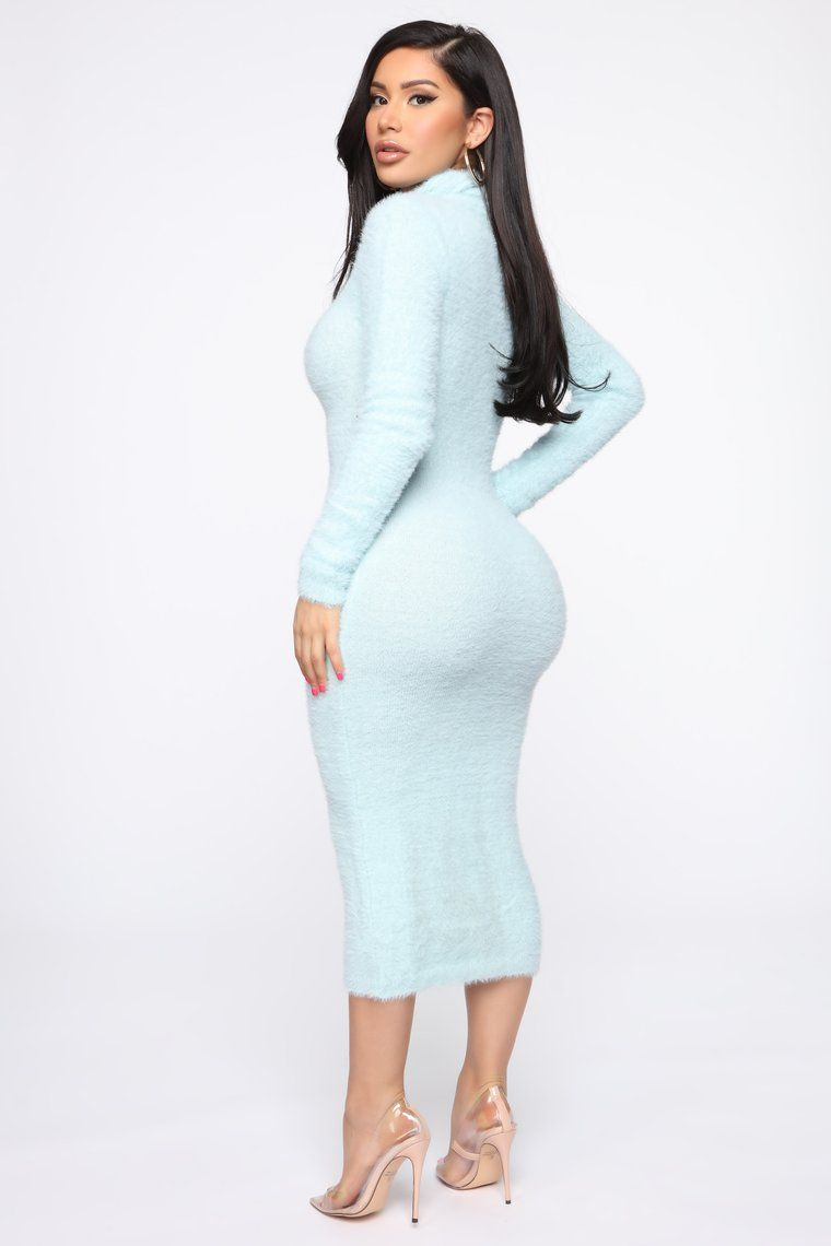 Look Of Excitement Sweater Midi Dress Light Blue in 2020
