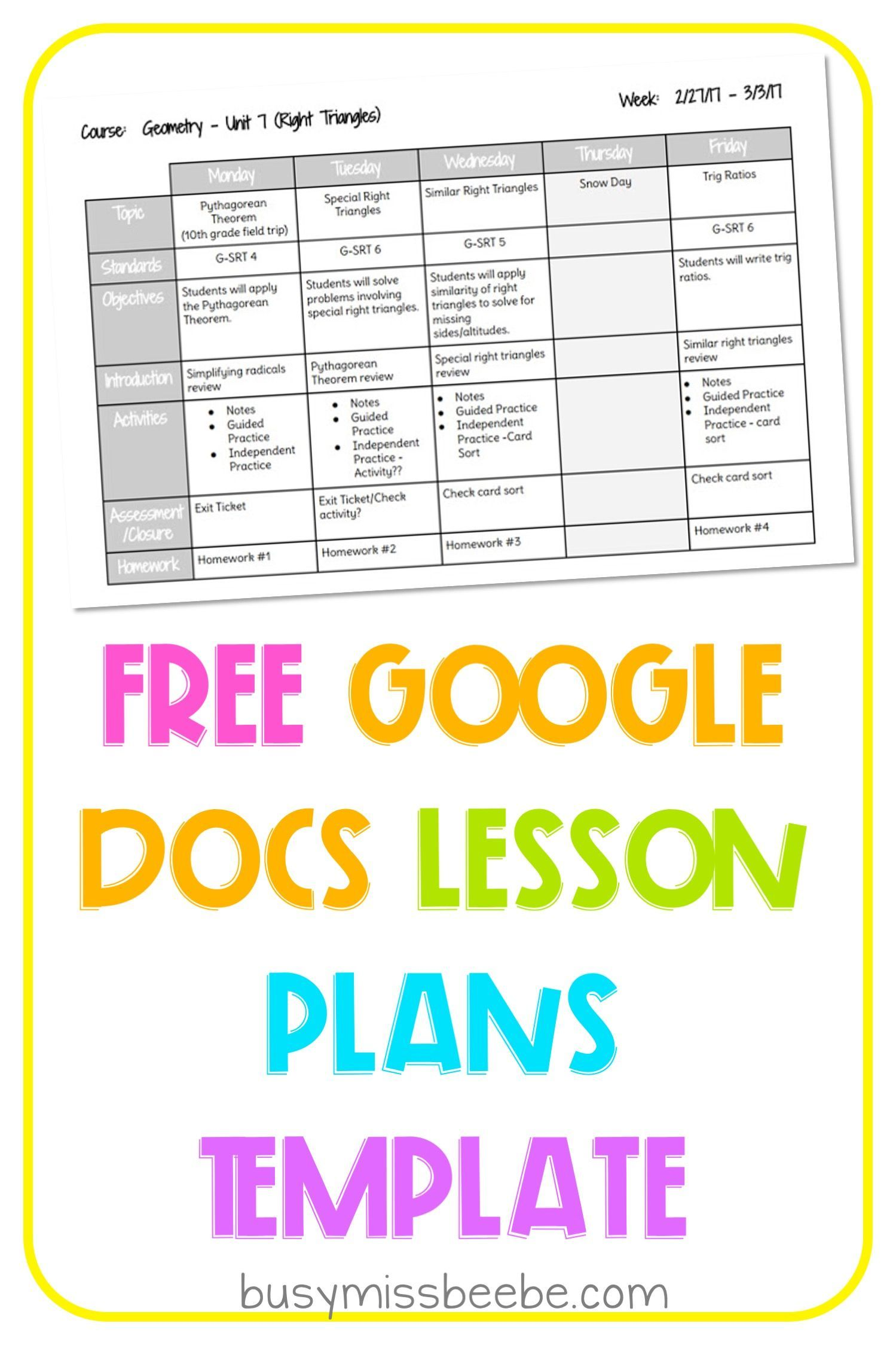 Free Lesson Plan Template Lesson Plan Template Free Kindergarten Lesson Plans Template Middle School Lesson Plans Weekly lesson plan template elementary